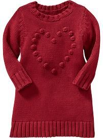 Popcorn-Heart Sweater Dresses for Baby- Old Navy
