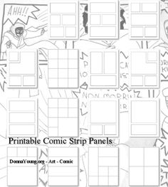 Printable Comic Strip Panels - Typically the cartoonist will draw his (or her) own panels as needed, but for the budding cartoonist, some pre-drawn cartoon templates might be just the thing he or she needs to get started.