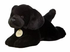 "11"" Aurora Plush Black Labrador Lab Puppy Dog Miyoni Stuffed Animal Toy New 