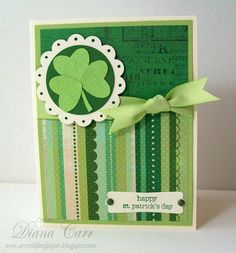 Handmade St. Patrick's Day Card - Handmade St. Patricks Day Card with Glitter Shamrock.