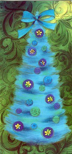 Christmas •~• vintage blue tree greeting card