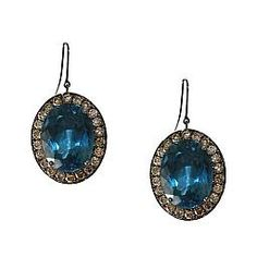 Kowloon London Blue Topaz Earrings accented with White Diamonds in Sterling Silver - Meredith Marks Designs
