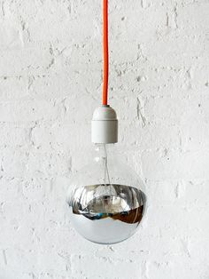 Neon Orange Net Color Cord Hanging Pendant Light w/ Giant Silver Bowl Bulb