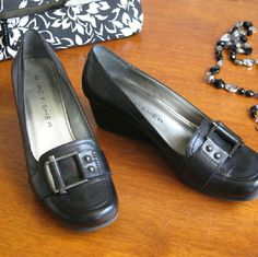 Marc Fisher wedge loafers Black wedge loafer with pewter buckle detail.  Worn twice; EUC. Marc Fisher Shoes Wedges