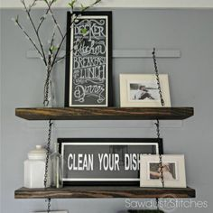 Instructions on how to create beautiful suspended shelving.