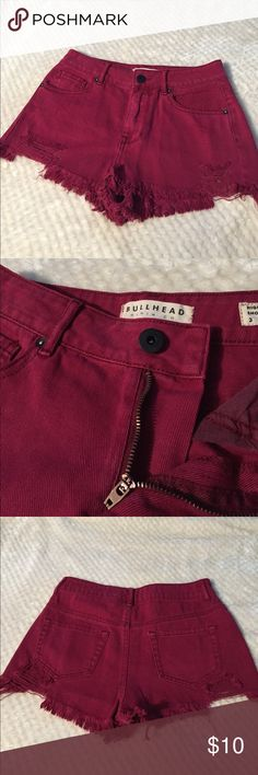 Bullhead Burgundy High Rise Destroyed Shorts Bought these for the 4th of July one year, and that's the only time they ever fit me lol. Great condition, very nicely made shorts. Zipper works flawlessly; pockets on the front and back. These do not stretch Bullhead Shorts Jean Shorts
