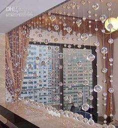 Beautiful Beads Curtain Crystal Beads Curtain Door Cover Screen M - Crystal hanging room divider