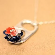 Patriot Rose - Recycled Soda Can and 925 Necklace