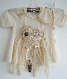 lovely altered baby's dress by yitte Vintage Baby Dresses, Little Girl Dresses, Vintage Outfits, Vintage Fashion, Found Object Art, Baby Couture, Altered Couture, Baby Gown, Vintage Love