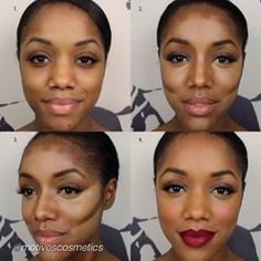 Incredible contour and highlight tutorial for Dark Skin. She is stunning with and without make-up! Face Contouring, Contour Makeup, Contouring And Highlighting, Face Makeup, Contouring Brown Skin, Contour Face, Corrective Makeup, Pin Up Makeup, Contour For Dark Skin