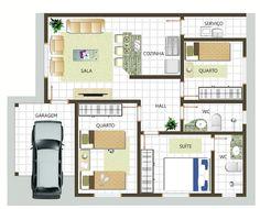 plantas de casas com 2 quartos com cozinha americana1