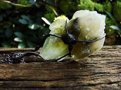Olive Emerald Caclcite Quartz Raw Druzy necklace raw geode quartz calcite pendant Green Lemon Large pendant calcite Oxidized to old silver by GepArtJewellery on Etsy