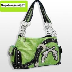 SPICY ~ Western Cowgirl LIME Cross Pistol Guns Bling Crystal Rhinestone Purse & FREE GIFT! $39.99  A sweet & spicy Bag that is right in its element with this season's color palette ~ Combining the look of the old with the look of the New Don't let this one slip through your fingers!  http://www.ebay.com/itm/251263661464?ssPageName=STRK:MESELX:IT&_trksid=p3984.m1555.l2649