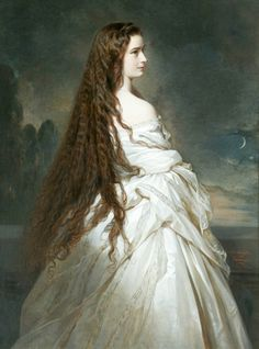 Sisi with her hair down portrait by Franz Xaver Winterhalter Elisabeth of Austria (due to the movie also known now as Sissi, Franz Xaver Winterhalter, Empress Sissi, The Empress, Kaiser Franz Josef, Elisabeth I, Kunsthistorisches Museum, Princess Elizabeth, Loose Hairstyles, Beautiful Paintings