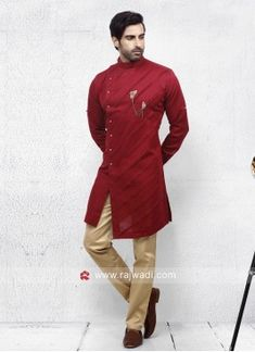 Attractive Red color Pathani Set Navy Color, Red Color, Engagement Dress For Men, Fancy Buttons, Sherwani, Lehenga Choli, Girls Wear, Cotton Silk, Party Wear