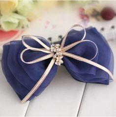 蓝色百塔 韩国发夹顶夹发饰 蓝色绢纱盘发系列 满
