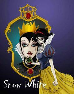The Dark version of Disney Princess. Snow White - The Dark Version: Dark Disney Princess, Dark Disney Art, Zombie Princess, Disney Fan Art, Disney Love, Punk Princess, Bad Princess, Disney Girls, Evil Disney Princesses