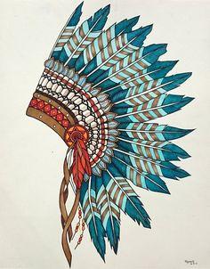 """Native Indian Head Dress"" by Kati Garrett Filho. Paintings for Sale. Bluethumb - Online Art Gallery"