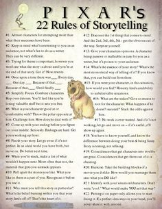 Pixar - 22 Rules of Storytelling - Great advice for writers. We all watched Pixar movies growing up.