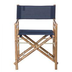 Regiestuhl Bamboo II (2er-Set) - Bambus massiv / Textil - Navy Blau