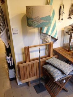 Hand printed shades on our space saving adjustable lamps @The Salcombe Trading Company