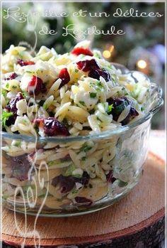 Die Miles & A Delights von lexibule : Orzo Salat Feta und Cranberries Recettes soupers Orzo Recipes, Salad Recipes, Cooking Recipes, Healthy Recipes, Cranberry Salad, Cranberry Juice, Feta, Orzo Salat, Salad Dressing Recipes