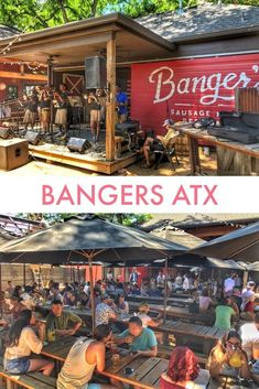 Top Things to Do in Austin, Texas: Day by Day Itinerary Bangers Bar on Rainey Street in Austin, Texas is a great outdoor bar and restaurant that's exceptionally popular for brunch. Click visit to discover more! Visit Austin, Visit Texas, Visiting Austin Texas, Austin Bars, Austin Tx, Austin Food, Rainey Street Austin, Vacation Trips, Family Vacations