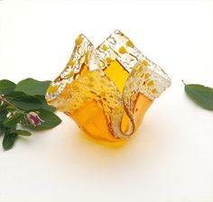 Fused glass candle holder, votive,  folded square, yellow, transparent clear by caroline4art on Etsy