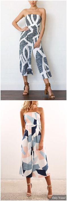 Off Shoulder Random Stripe Print Jumpsuit US$21.95