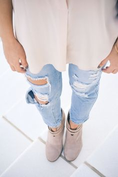 ripped jeans and booties. | A Glimpse of Glam.