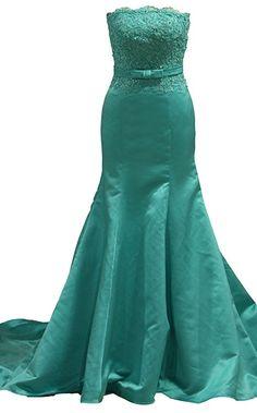 Women's Strapless Mermaid Satin and Sash Prom and