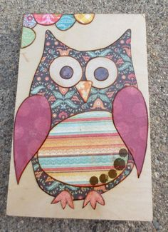 Mixed media collage art on woodOwl by MixedMediology on Etsy, $15.00