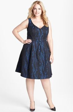 ABS by Allen Schwartz Python Jacquard Cocktail Dress (Plus Size) available at #Nordstrom