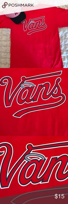 Men's Med VANS MLB 2016 collection,Angels VINTAGE Men's Medium VANS MLB 2016 collection, Anaheim Angels. Short sleeve. Red and white. Warped 16 graphic on the back. Only worn for a photo. Pictures provided of condition. All bundles of 2 or more receive 15% off. Closet full of new, used and vintage Vans, Skate and surf companies, jewelry, phone cases, shoes and more. Vans Shirts Tees - Short Sleeve