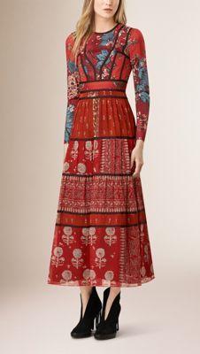 Patchwork Print Silk Empire Line Dress