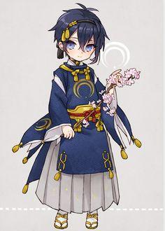 Mikazuki Munechika l Touken Ranbu Chibi Boy, Kawaii Chibi, Cute Chibi, Anime Kawaii, Anime Sword, Touken Ranbu Mikazuki, Manga Anime, Anime Art, Kaito Shion