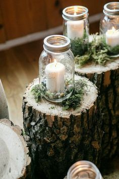 Candles on logs Woodland Wedding Theme Woodland Wedding Inspiration Woodland Wedding Ideas Forest Enchanted Woodland Wedding Decor Woodland Wedding Ceremony Woodland Wedding Reception Mason Jar Candle Holders, Mason Jar Candles, Pillar Candles, Pots Mason, Ideas Candles, Hanging Mason Jars, Rustic Candle Holders, Citronella Candles, Blue Candles