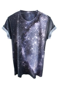 Galaxy Tee Shirt 100% Polyester tee featuring a real image of the Small Magellanic Cloud Nebula taken by NASA's Hubble Telescope. Model wears Medium. International Shipping Available. Please note: Due