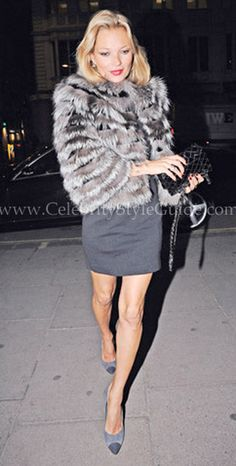 Seen on Celebrity Style Guide: Kate Moss out to dinner in London January 24, 2011