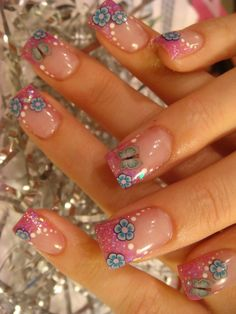 cute glamorous | Glitzy Glam Nail Art Design With Cute Flower And Pink Color