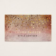 Elegant Glitter Subtle Pink Orange  Faux Confetti Business Card - light gifts template style unique special diy