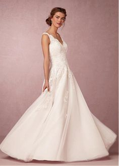 Buy discount Fabulous Tulle V-neck Neckline A-line Wedding Dresses with Lace Appliques at Dressilyme.com