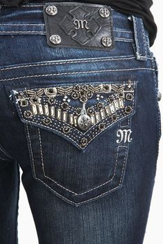 ⚜NEW Women's MISS ME Low Rise Beaded Boot Stretch Jean 30 X 34⚜ #MissMe #BootCut