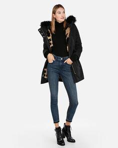 2b3fb12484ed Detachable Vest Faux Leopard Fur Anorak | Express Poncho Coat, Vest Coat, Vest  Jacket