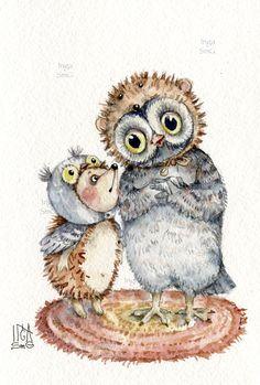 Инга Измайлова акварель сова ежик друзья Inga SmG owl art Paper Owls, Owl Pictures, Beautiful Owl, Owl Art, Woodland Creatures, Forest Animals, Cute Characters, Cute Illustration, Artsy