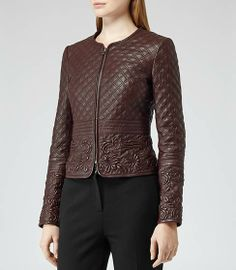 Onyx Burgundy Quilted Leather Jacket With Detailing - REISS