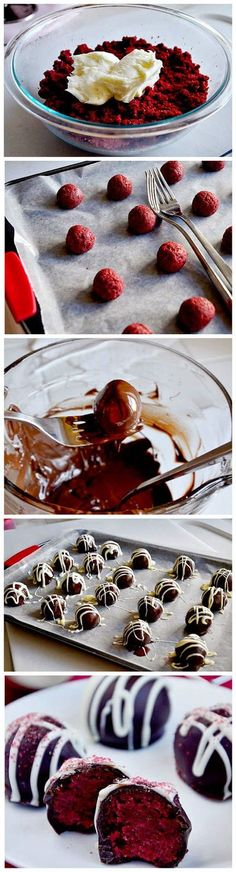 Red Velvet Cake Balls Ingredients: 1 box red velvet cake mix (plus ingredients required on back of box) 16oz Baker's Semi-Sweet Chocolate 6oz Baker's White Chocolate colored sprinkles (optional) For the cream cheese frosting (could use store-bought): 1/4 cup butter, softened to room temperature 4oz 1/3-less fat cream cheese, softened to room temperature 1/2 teaspoon …