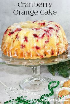 This cranberry orange cake is almost like a pound cake and gets better as it sets. Bake it in a bundt or loaf pan. This cranberry orange cake is almost like a pound cake and gets better as it sets. Bake it in a bundt or loaf pan. Thanksgiving Desserts, Holiday Desserts, Holiday Baking, Christmas Baking, Christmas Bunt Cake, Halloween Desserts, Thanksgiving Turkey, Bbq Dessert, Dessert Recipes