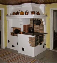 the hearth of the kitchen Brick Masonry, Barbie Doll House, Miniature Rooms, Decoration, Hearth, Stove, Kitchen Design, Art Deco, Indoor