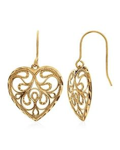 Diamond Cut Heart Dangle Earrings in 10K Yellow Gold #Netaya